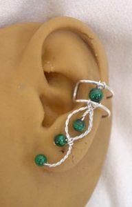 ear cuff in malachite gemstone