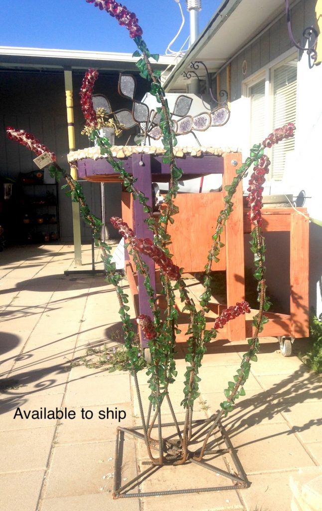 Recycled bottle glass sculpture of Ocotillo cactus