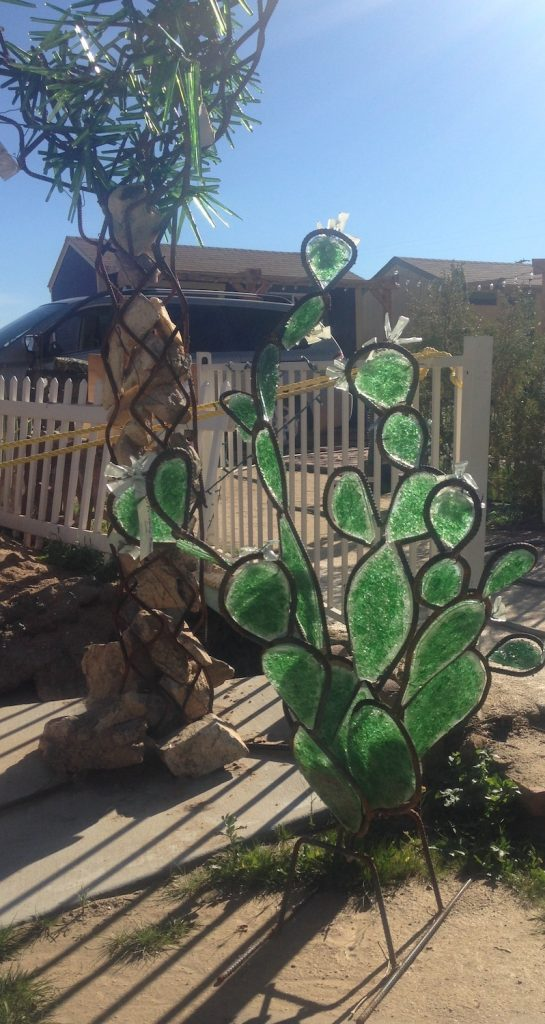Recycled glass desert cactus sculpture