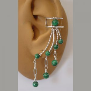 Malachite ear cuff